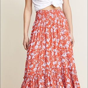 Free People Way of the Wind Floral Midi Skirt, L